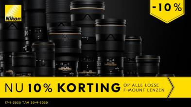 Nu 10% korting op alle losse Nikon F-mount lenzen t/m 30 september